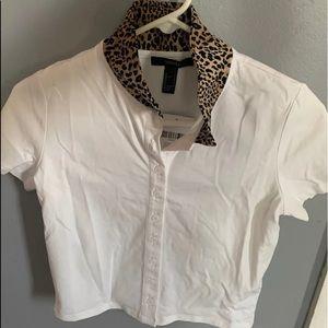 White button up shirt,  W/ cheetah print collar